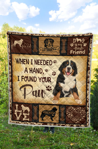 Bernese Mountain Found Your Paw Quilt