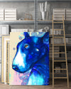 Bull Terrier Matte Canvas Print, Canvas Wall Art for Living Room, Bathroom Wall Decor, WATER BLUE COLOR TH