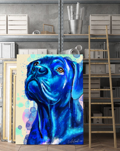Cane Corso Matte Canvas Print, Canvas Wall Art for Living Room, Bathroom Wall Decor, WATER BLUE COLOR TH