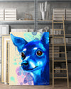 Chihuahua Matte Canvas Print, Canvas Wall Art for Living Room, Bathroom Wall Decor, WATER BLUE COLOR TH