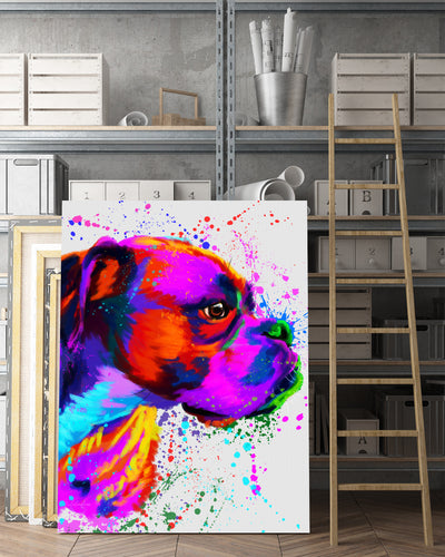 Boxer 2 Matte Canvas Print, Canvas Wall Art for Living Room, Bathroom Wall Decor, Water Color TT 31B