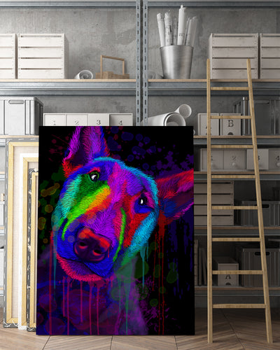 Bull terrier Matte Canvas Print, Canvas Wall Art for Living Room, Bathroom Wall Decor, Water Color TT 31B