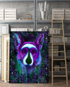 German Shepherd Matte Canvas Print, Canvas Wall Art for Living Room, Bathroom Wall Decor, Purple TT 12TA