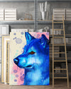 Shiba Inu Matte Canvas Print, Canvas Wall Art for Living Room, Bathroom Wall Decor, Water Blue PM