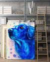 Golden Retriever Matte Canvas Print, Canvas Wall Art for Living Room, Bathroom Wall Decor, Water Blue TH