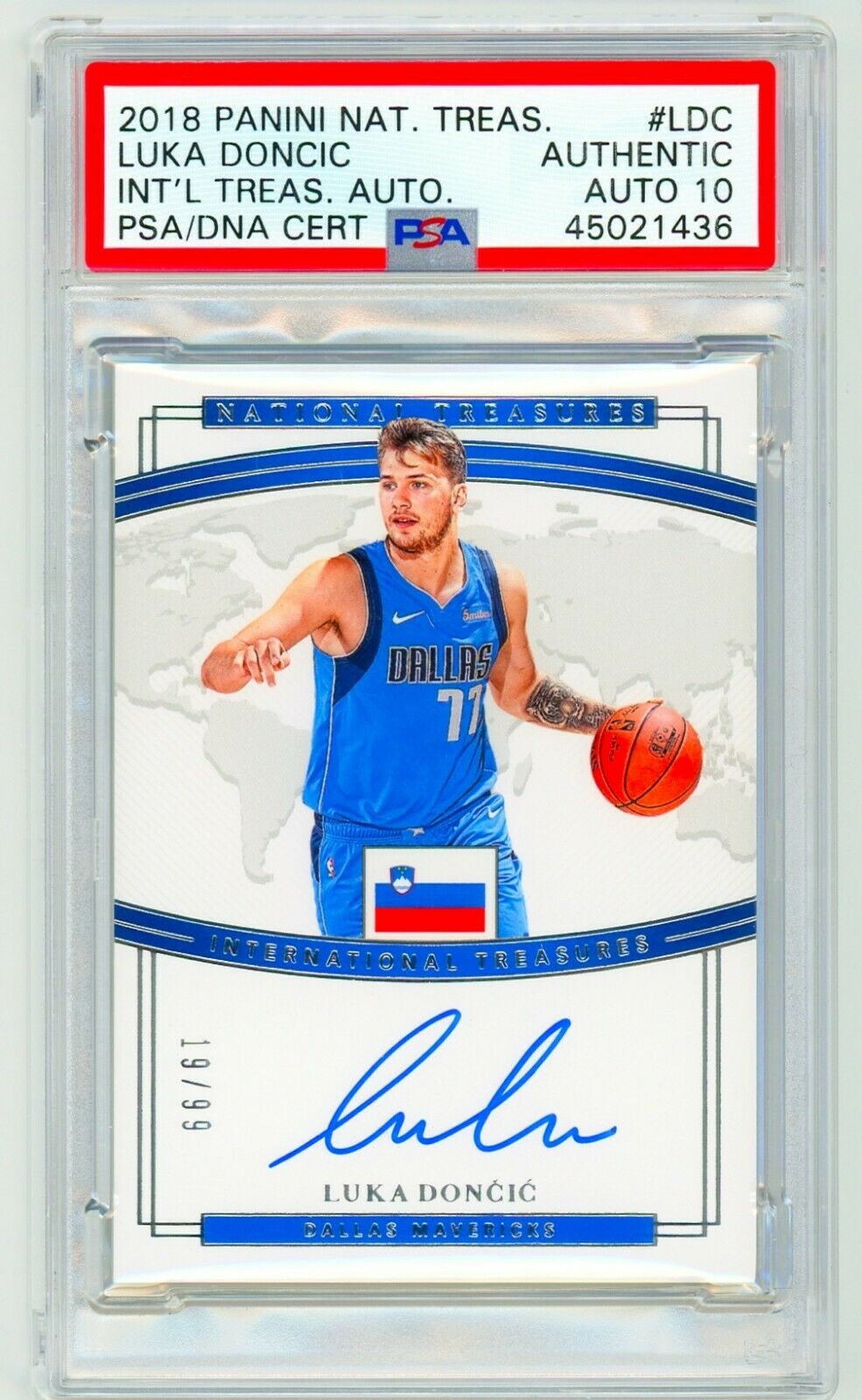 LUKA DONCIC 2018 Panini National Treasures International RC AUTO PSA DNA Authentic ROOKIE CARD