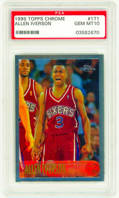 ALLEN IVERSON 1996 Topps Chrome #171 Grade PSA 10 GEM MINT 76ers Rookie Card RC