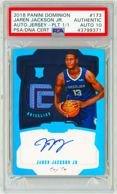 JAREN JACKSON JR 2018 Panini Dominion Platinum RPA 1/1 Rookie RC AUTO PSA DNA