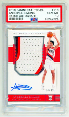 ANFERNEE SIMONS 2018 Panini National Treasures #116 RPA /99 PSA 10 GEM MINT Rookie RC
