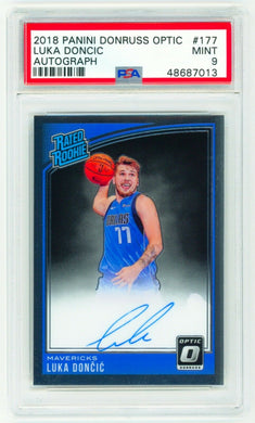 LUKA DONCIC 2018 Panini Donruss Optic #177 AUTO PSA 9 MINT SIGNED ROOKIE CARD