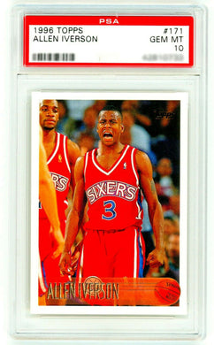 ALLEN IVERSON Rookie Card 1996 Topps #171 PSA 10 GEM MINT RC (Non-Chrome)