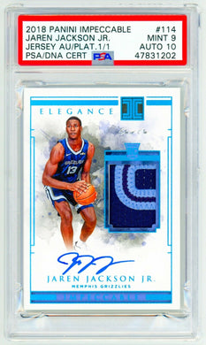 JAREN JACKSON JR 2018 Panini Impeccable RPA Rookie Patch 1/1 PSA 9 AUTO 10 RC