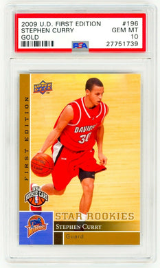 STEPHEN CURRY 2009 Upper Deck First Edition #196 GOLD PSA 10 ROOKIE RC