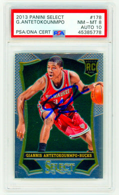 GIANNIS ANTETOKOUNMPO ROOKIE 2013 Panini Select 178 SIGNED PSA / DNA PSA AUTO 10