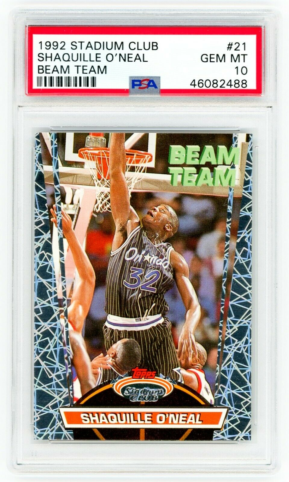 SHAQUILLE O'NEAL 1992 Stadium Club #21 Beam Team PSA 10 GEM MINT ROOKIE Card RC
