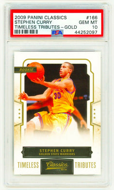 STEPHEN CURRY 2009 Panini Classics #166 TIMELESS TRIBUTE GOLD PSA 10 ROOKIE RC