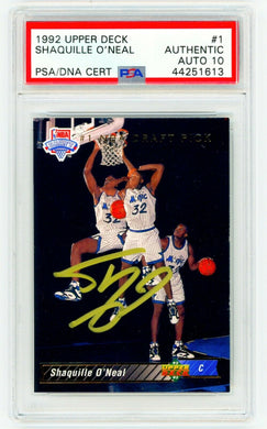 SHAQUILLE O'NEAL ROOKIE Card 1992 Upper Deck 1 Signed AUTOGRAPHED AUTO PSA / DNA