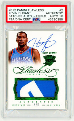 KEVIN DURANT 2012 Panini Flawless #2 Patch AUTO EMERALD /5 Game Worn + Autograph