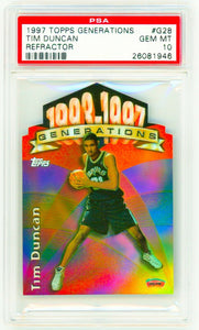 TIM DUNCAN 1997 Topps Generations REFRACTOR #G28 Rookie Card RC PSA 10 GEM MINT