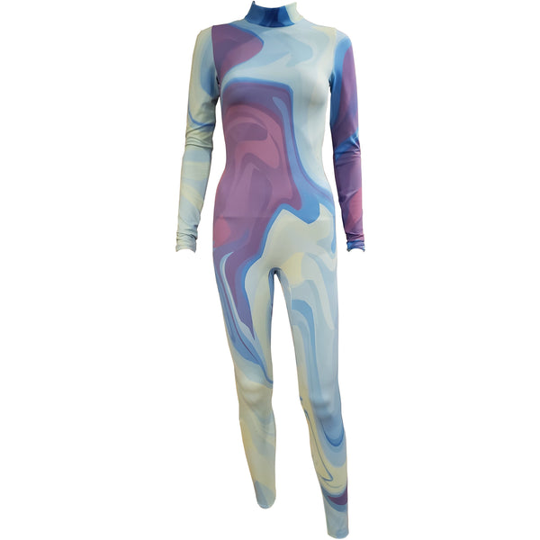 Blue Purple Liquid Unitard - Motion In Ink