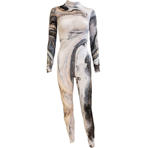 Black Grey Liquid Unitard - Motion In Ink