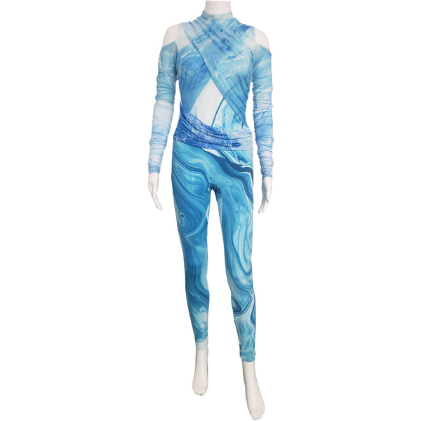 Blue Mesh Wrapped Unitard - Motion In Ink