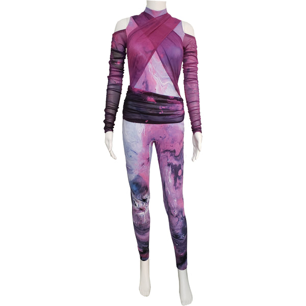 Purple Mesh Wrapped Unitard - Motion In Ink