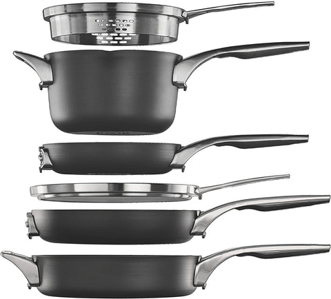 stackable cooking pots and pans for rvs trailers campers  Calphalon Premier Space Saving Nonstick Cookware 6 Piece Set
