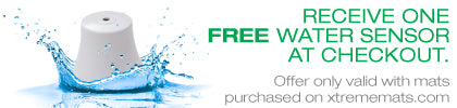 free water sensor at checkout water sensor with splash and text