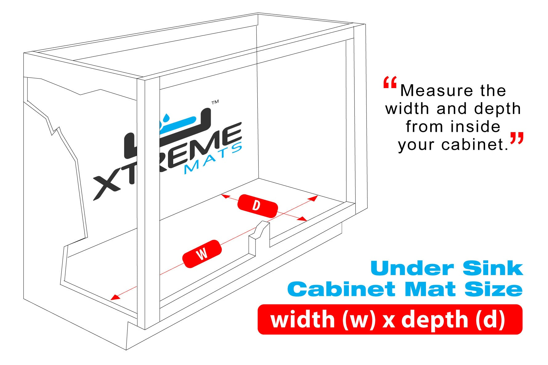 outline of a cabinet with xtreme mats logo