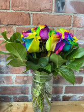 Load image into Gallery viewer, Rainbow Rose Arrangement in Hobnail Vase