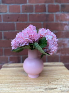 Small Coral Blush Raawii Strøm Vase with Pink Hydrangeas