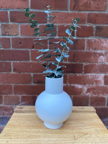 Large Off-White Raawii Strøm Vase with Eucalyptus
