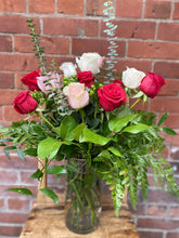 Load image into Gallery viewer, Red, White & Pink Premium 12-Rose Bouquet