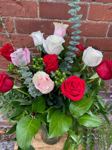 Red, White & Pink Premium 12-Rose Bouquet