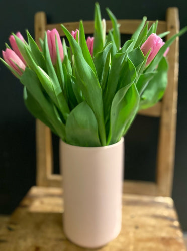 Mixed Tulips in Pink Ceramic Vase