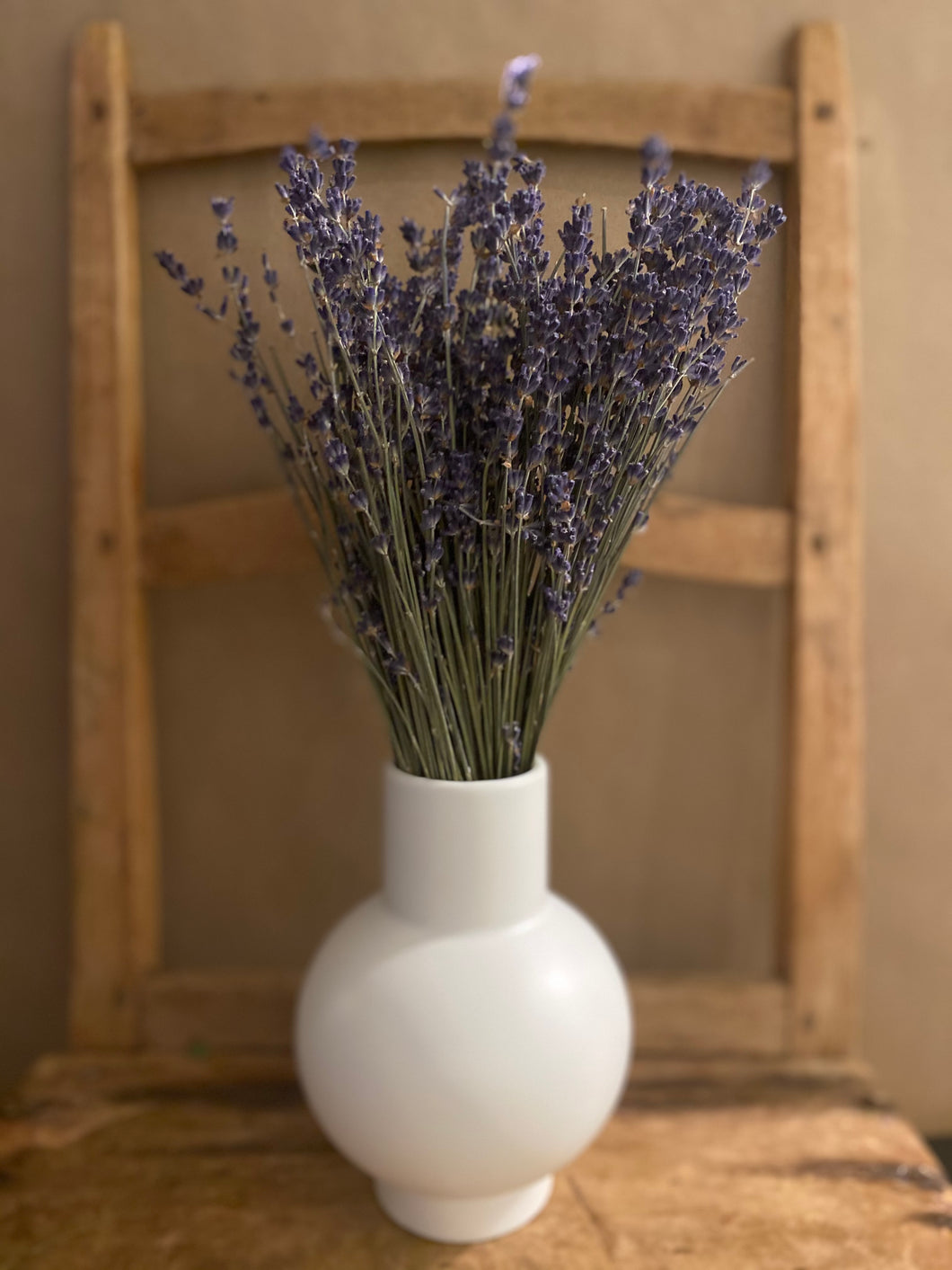 Dried Lavender in Small Raawii Strøm Vase (Vaporous Gray / Off-White)