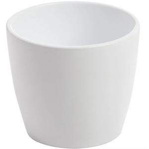"12"" White Gloss Ceramic Pot"