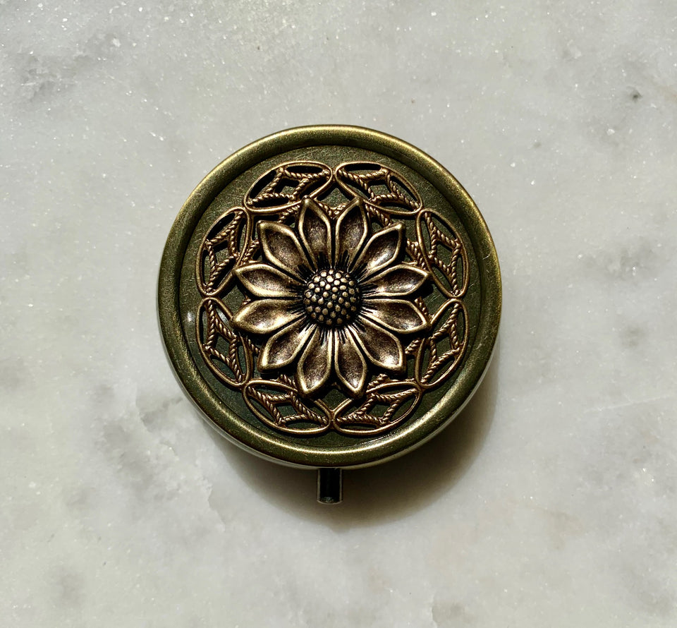 Brass Dandelion Wildflowers Perfume Box