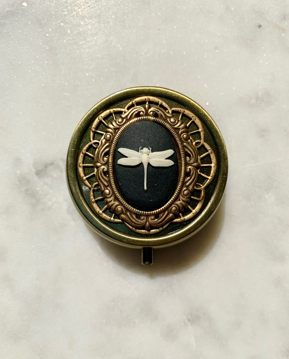 Brass Dragonfly Rose Perfume Box