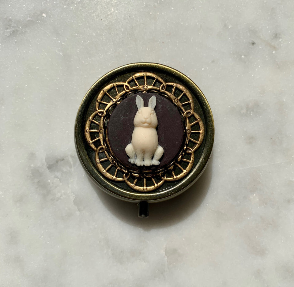 Brass White Rabbit Rose Perfume Box