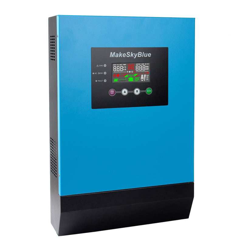 3KVA 2400W Hybrid Pure Sine Wave MPPT Solar Inverter, 48V DC to 230V AC, Off Grid Tie