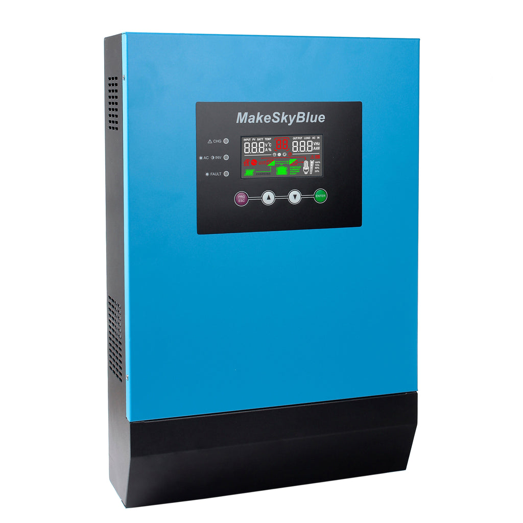 3KVA 2400W Hybrid Pure Sine Wave MPPT Solar Inverter, 48V DC to 120V AC, Off Grid Tie