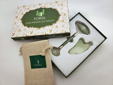 NEW FORSIL Jade Roller and Gua Sha Set