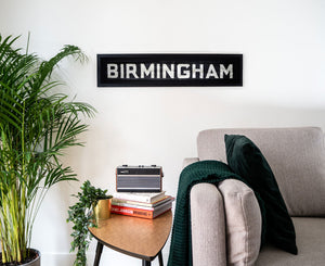 Birmingham 1970s Framed Linen Bus Blind