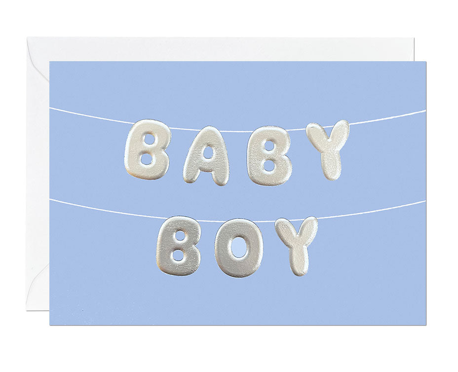 Baby Boy Silver Embossed card