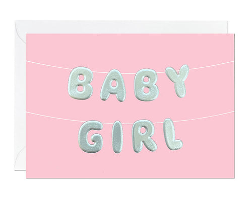 Baby Girl Silver Embossed card