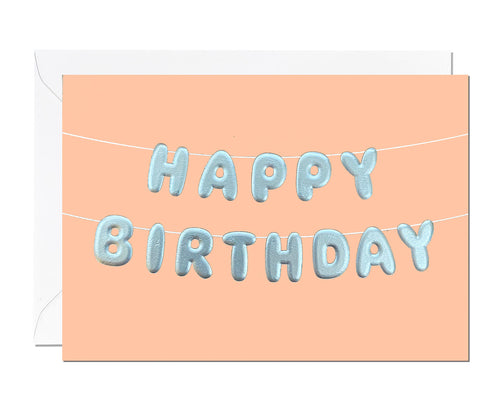 Happy Birthday Silver Embossed card