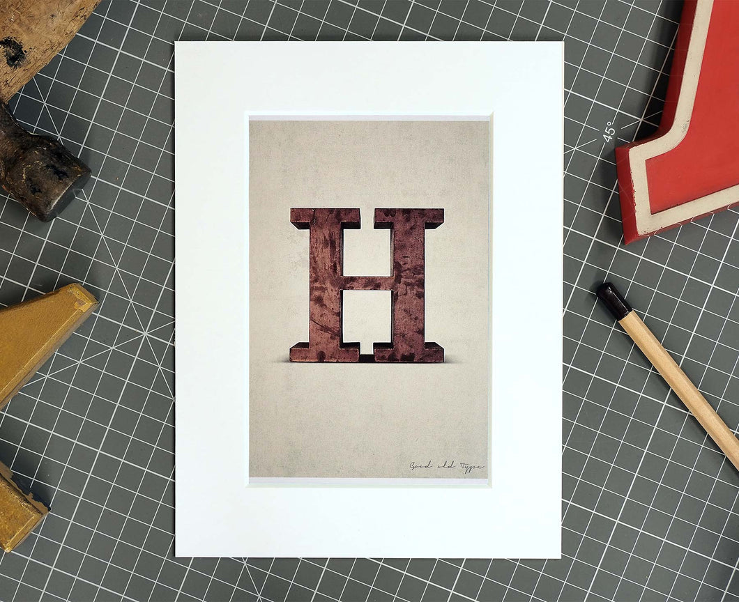 Letter H Salvaged Signage postcard