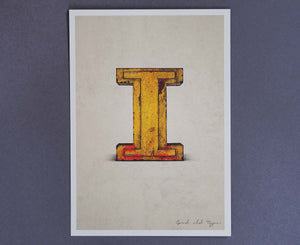 Letter I Salvaged Signage postcard